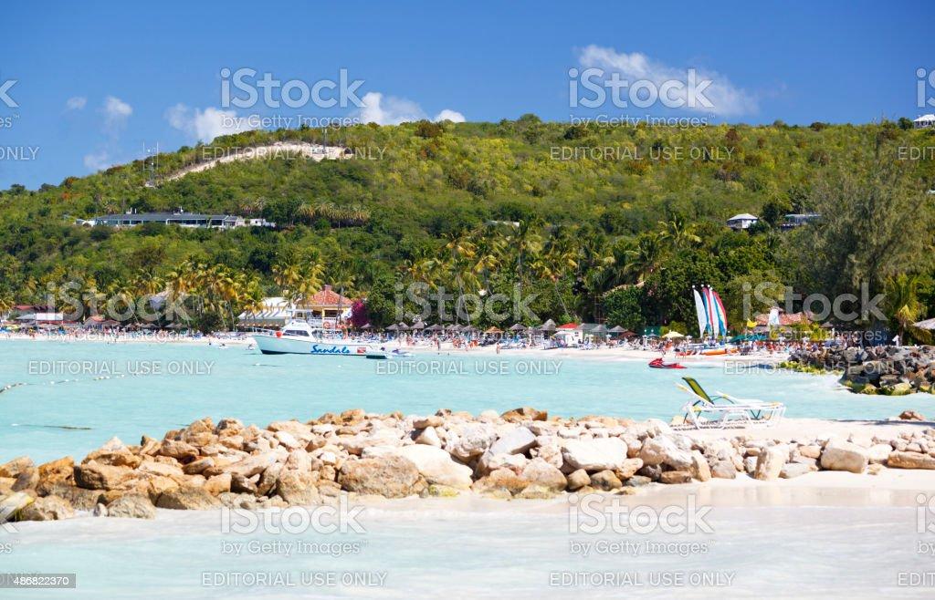 Caribbean Beach With Hotel Resort stock photo