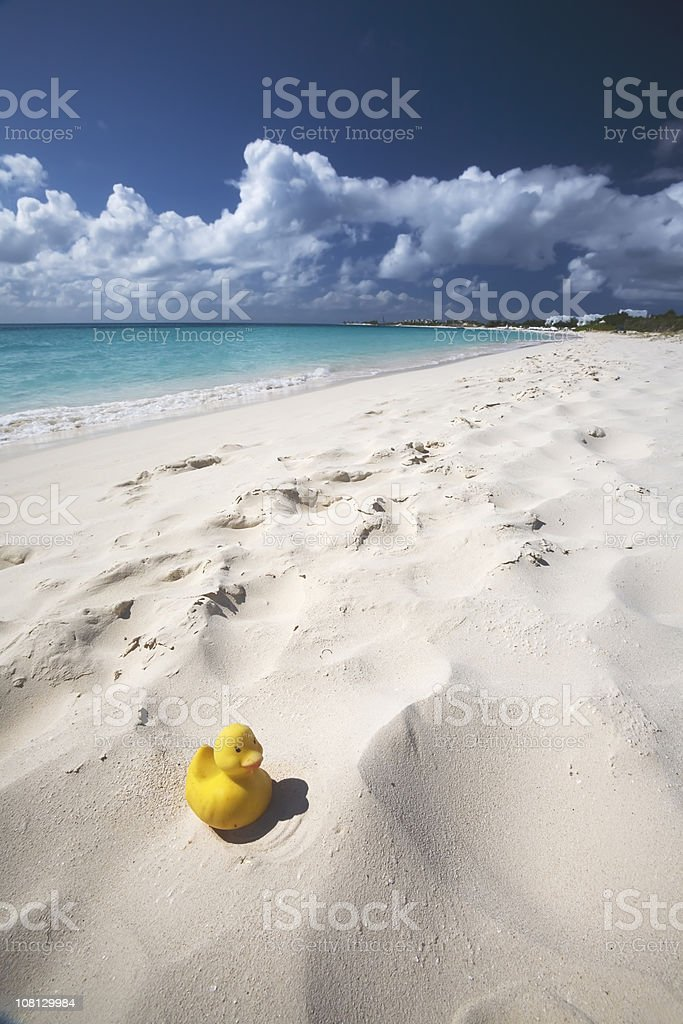 Caribbean Beach with Yellow Duck royalty-free stock photo