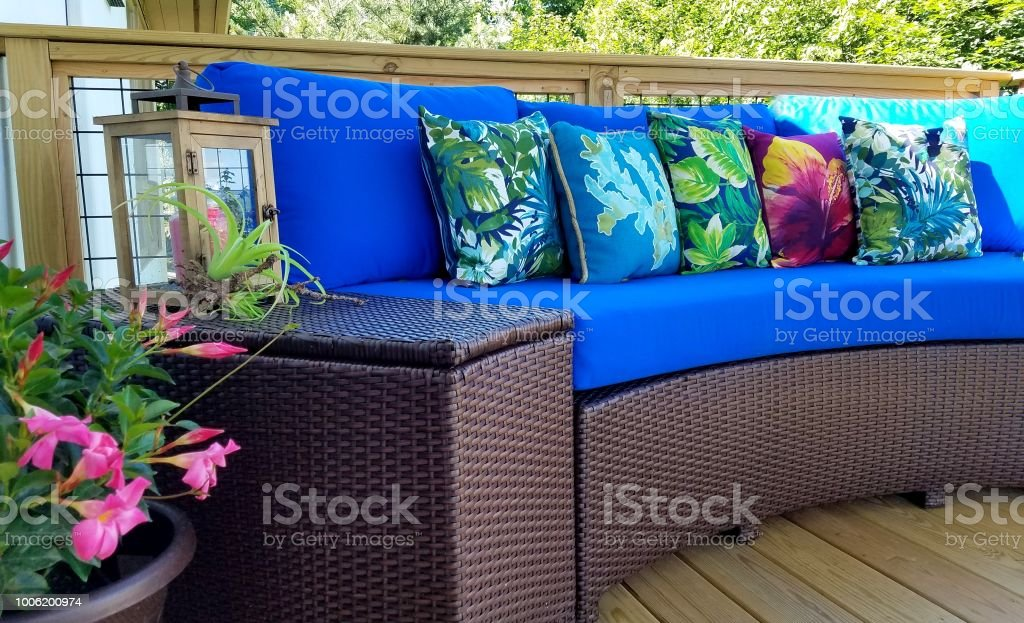 Enjoyable Caribbean Blue Tropical Sofa With Flora Nearby Stock Photo Bralicious Painted Fabric Chair Ideas Braliciousco