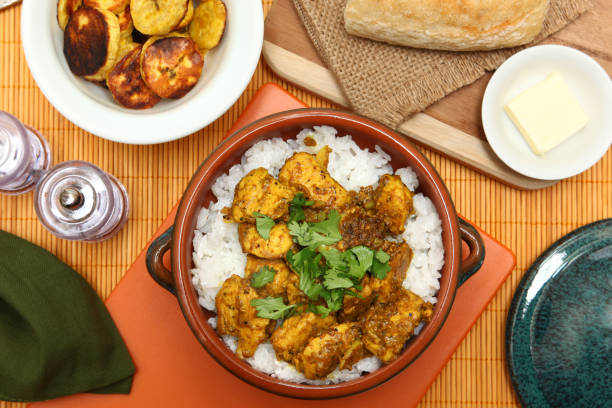 caribbean chicken curry - caribbean food stock photos and pictures