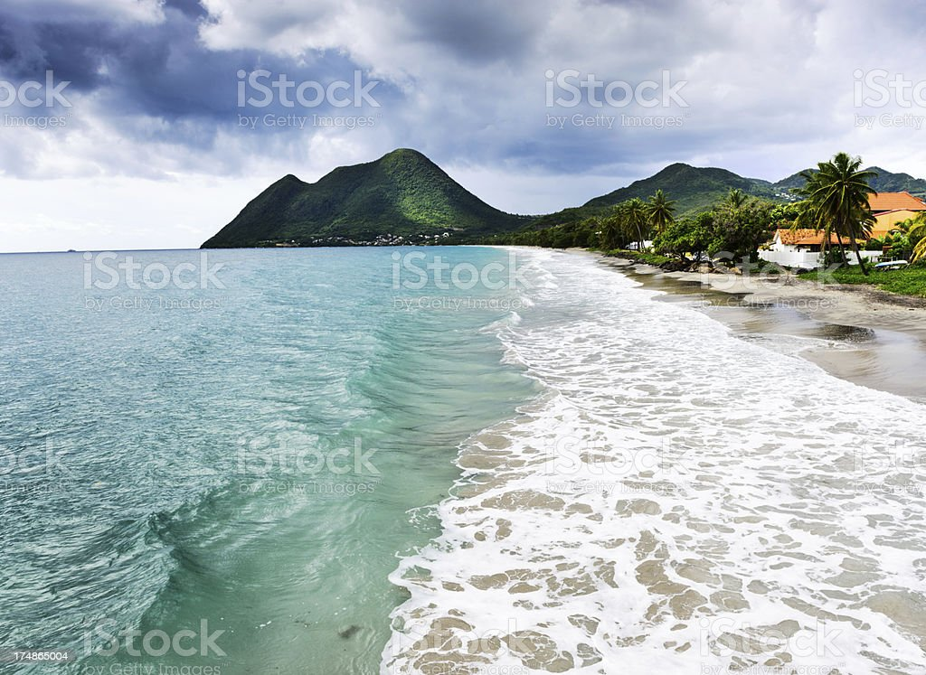 Caribbean coast at Le Diamant in Martinique royalty-free stock photo
