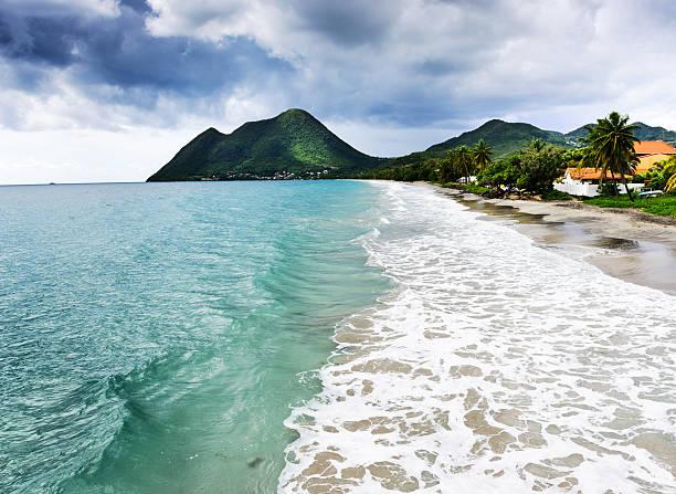 Caribbean coast at Le Diamant in Martinique stock photo