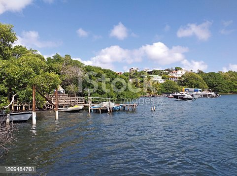 Caribbean coastline with rustic piers, colonial houses and littoral vegetation of the Caribbean Sea under blue sky with white clouds. French Antilles. Vegetation near the sea and tropical nature.