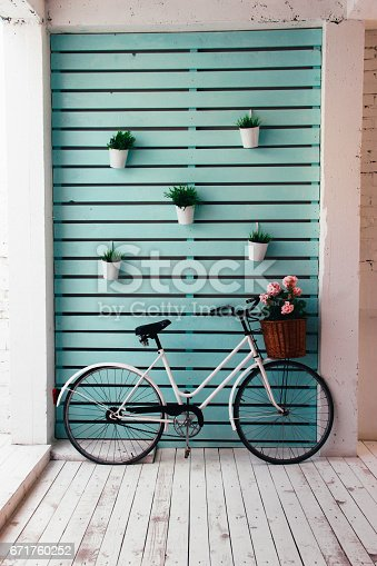Caribbean color with old bike,decoration