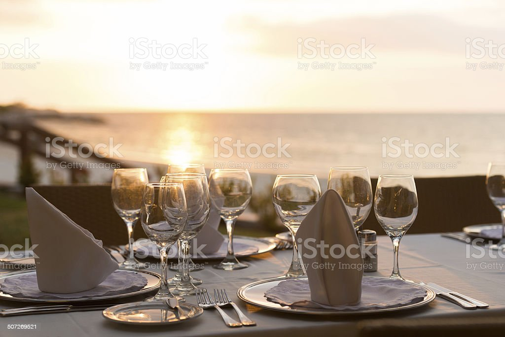 Caribbean dining at sunset