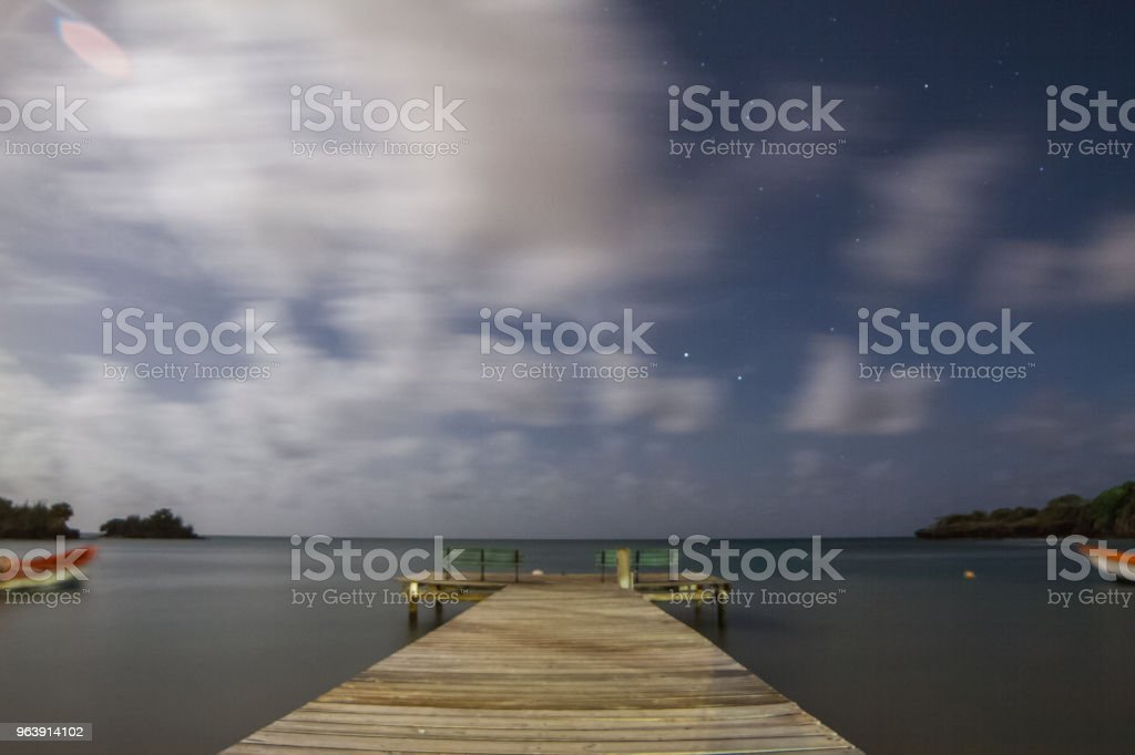 Caribbean Dock at Night stock photo