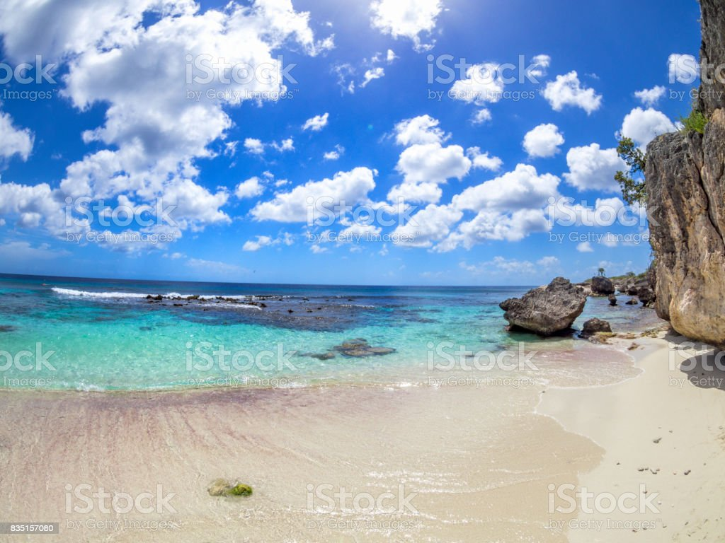 Caribbean: Dream Beach: Bonaire beach, Wayaka This image is GPS tagged stock photo