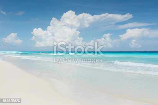 Beautiful turquoise caribbean water with gentle waves and white sandy beach on a beautiful sunny day in Mexico.. Cancun, Mexico, Central America.