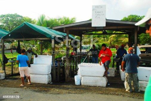 St. Croix, US Virgin Islands -  March 18, 2011:  Open air fish market roadside on the island of St. Croix, US Virgin Islands.