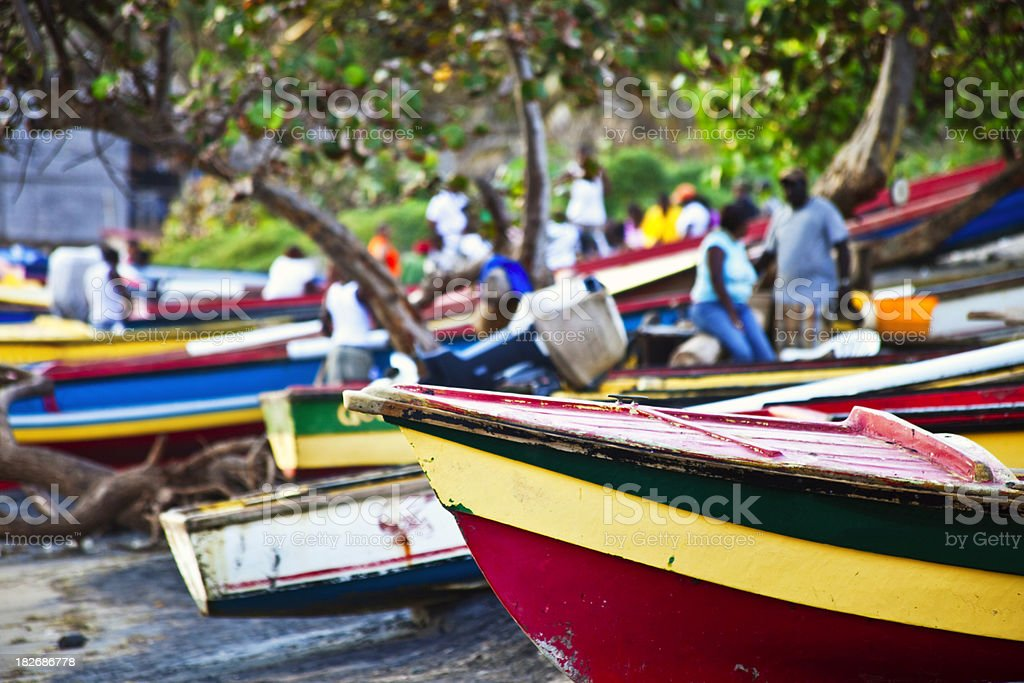 caribbean fishing boats stock photo