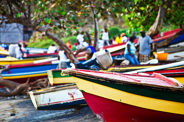 caribbean fishing boats - jamaica stock photos and pictures