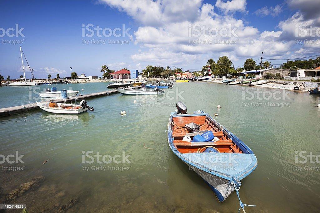 Caribbean Fishing Harbor with Boats royalty-free stock photo