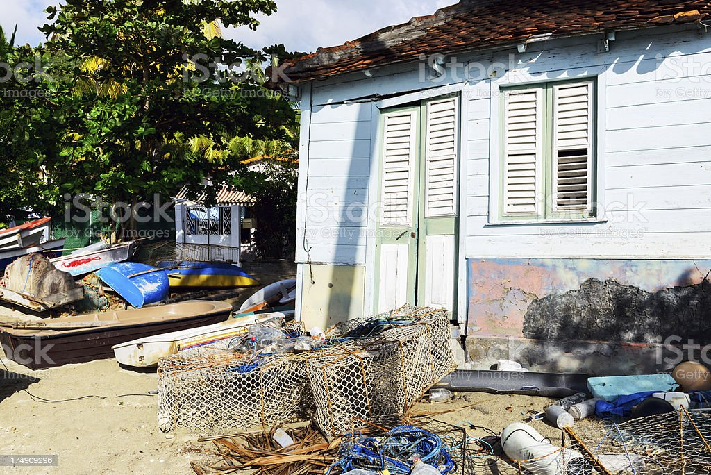 Caribbean Fishing Hut on Martinique royalty-free stock photo