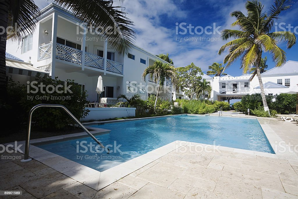 Caribbean Hotel with Pool royalty-free stock photo