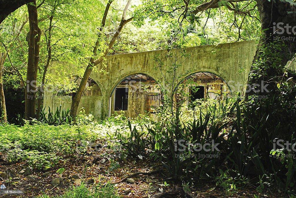 Caribbean Island Ruins stock photo