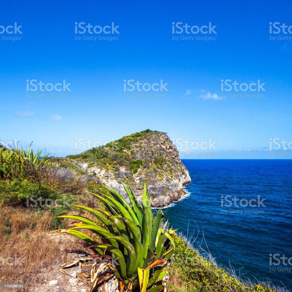 Caribbean landscape - Half Moon Bay, Antigua & Barbuda stock photo