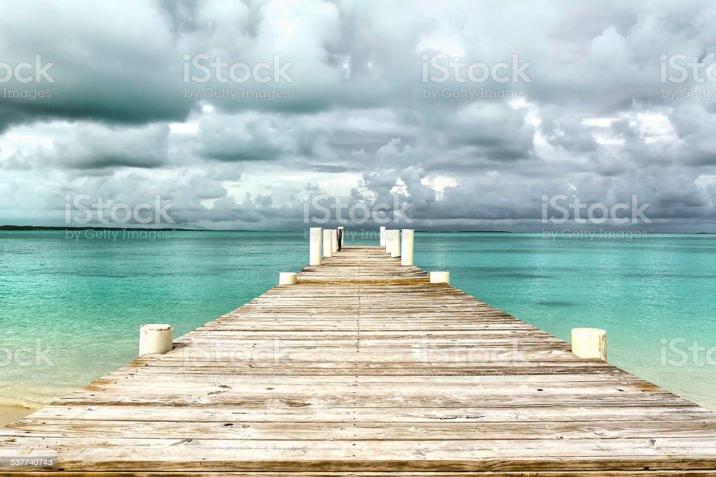 Caribbean landscape - isolated jetty - Bahamas stock photo