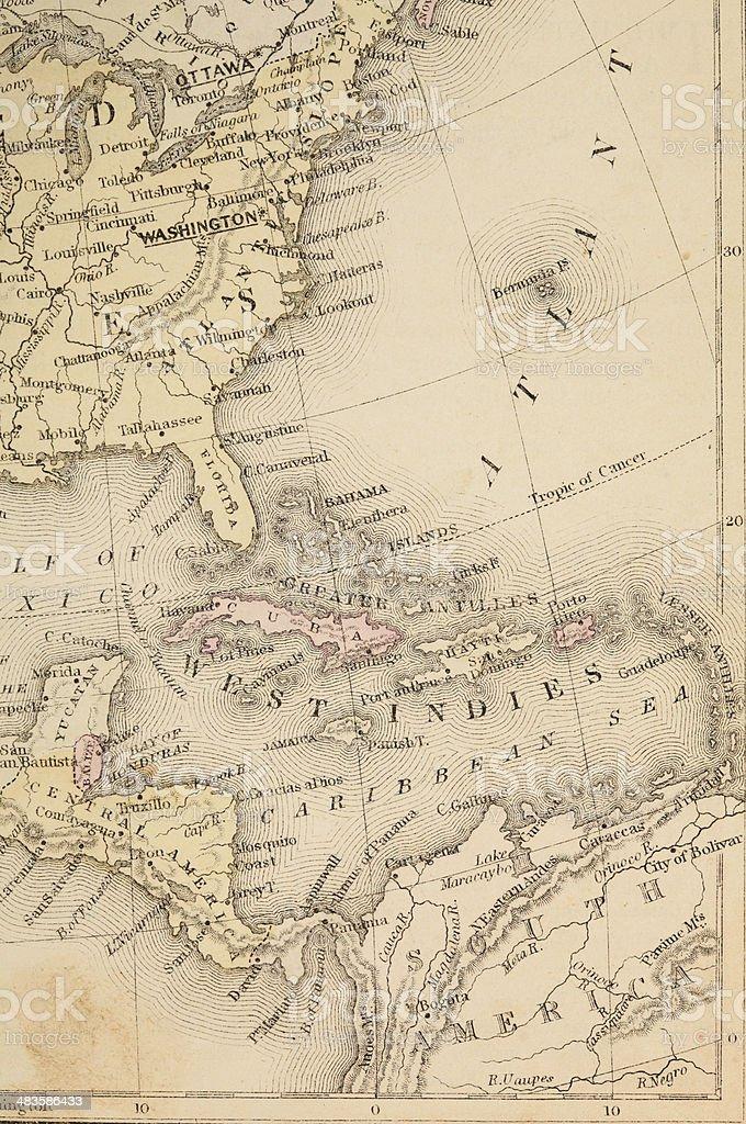 Caribbean map royalty-free stock photo