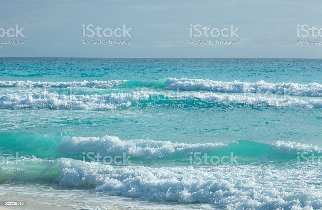 Caribbean Ocean Beach in Mexico stock photo