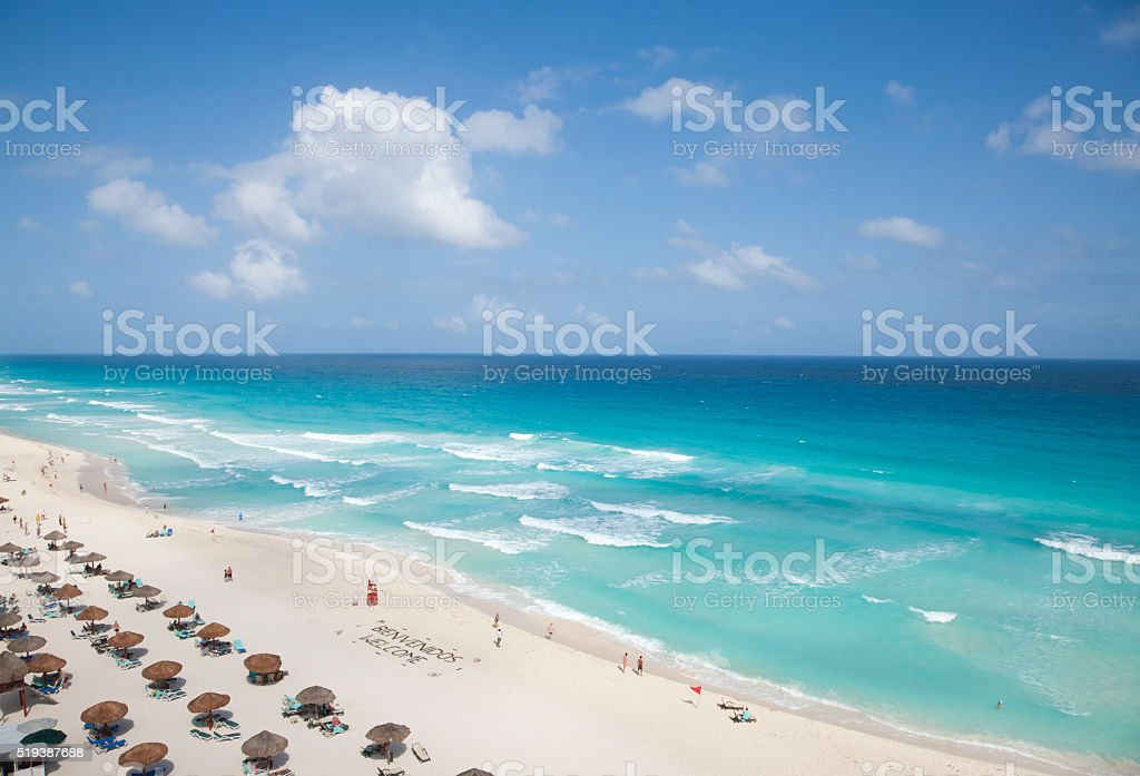 Caribbean Ocean Vacation Beach Cancun Mexico stock photo