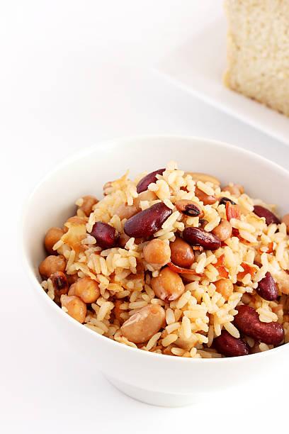 Caribbean peas and rice stock photo