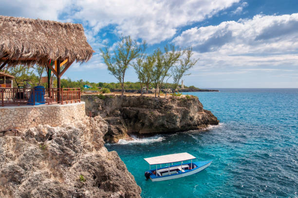 caribbean rocky beach in negril, jamaica - jamaica stock photos and pictures