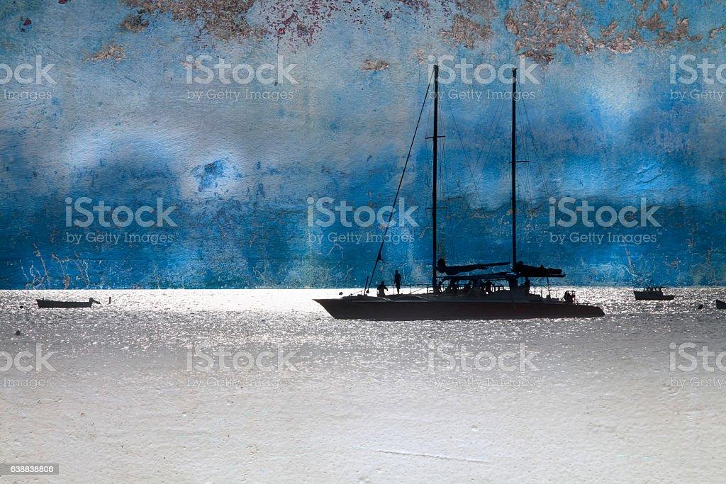 Caribbean Sailboat Montage stock photo