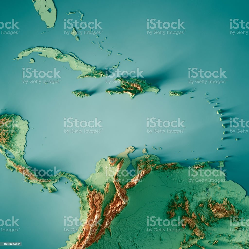 Caribbean Sea 3d Render Topographic Map Color Stock Photo & More