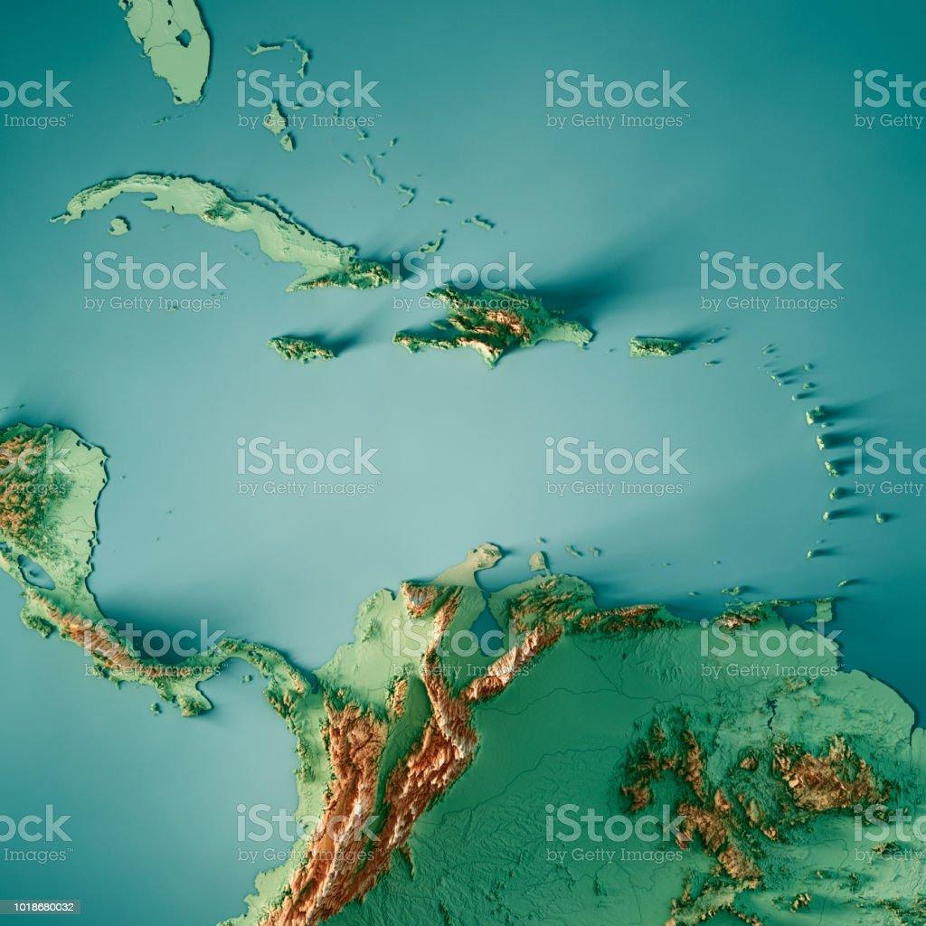 Karibische Meer 3D-Render Topographische Karte Farbe – Foto