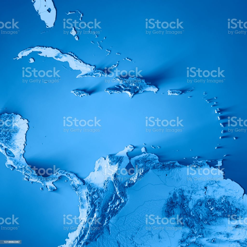 Caribbean Topographic Map.Caribbean Sea 3d Render Topographic Map Color Stock Photo More