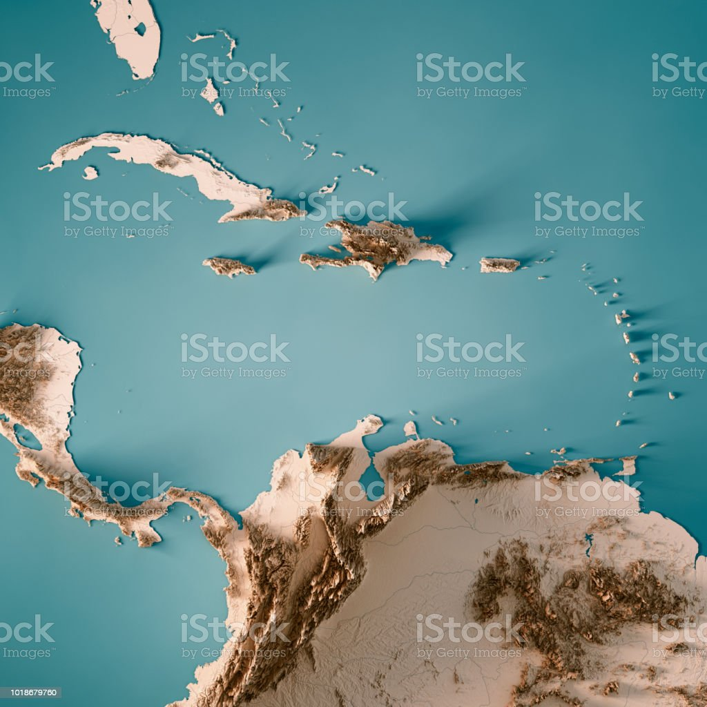 Caribbean Topographic Map.Caribbean Sea 3d Render Topographic Map Neutral Stock Photo More