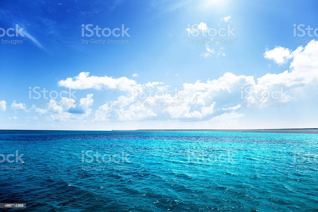 caribbean sea and perfect sky stock photo