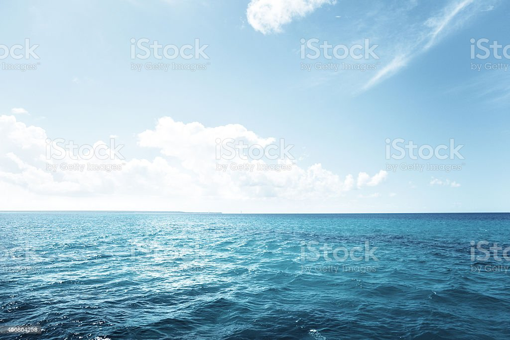 caribbean sea and perfect sky stock photo