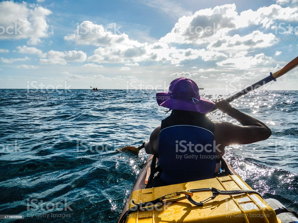 Caribbean sea kayak adventure stock photo