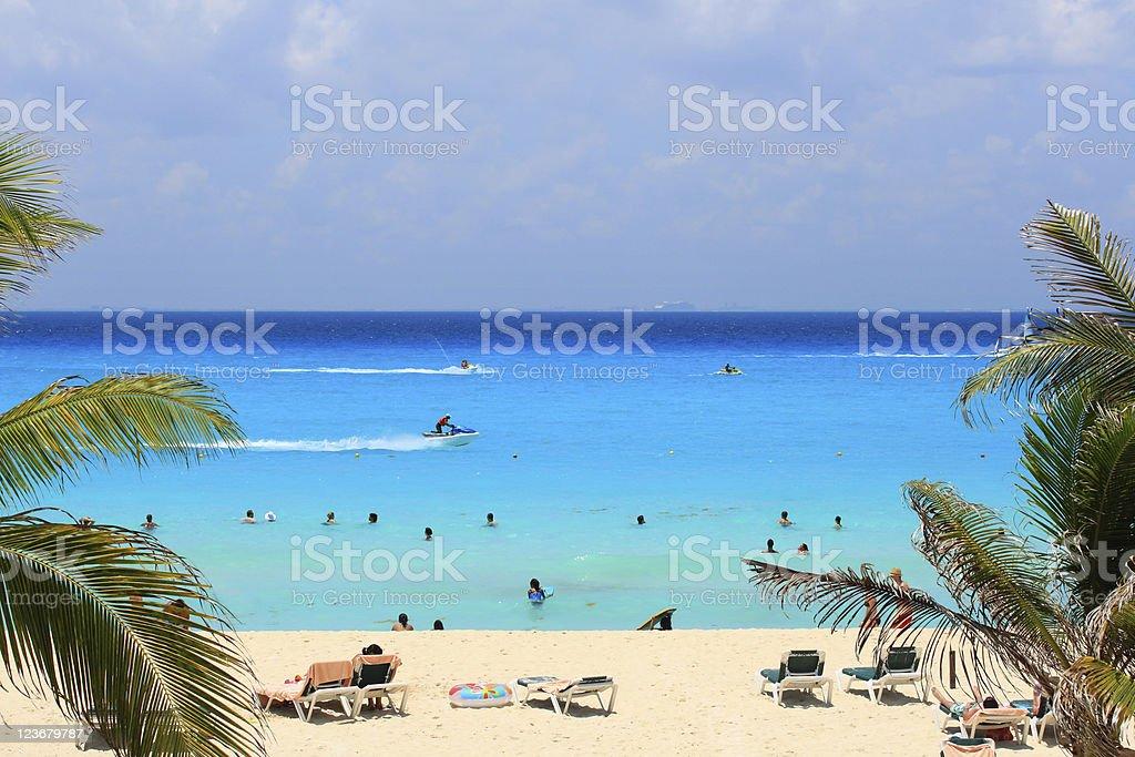 Caribbean sea of Mexico stock photo