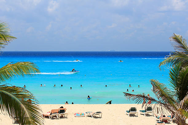 caribbean sea of mexico - playa del carmen stock photos and pictures