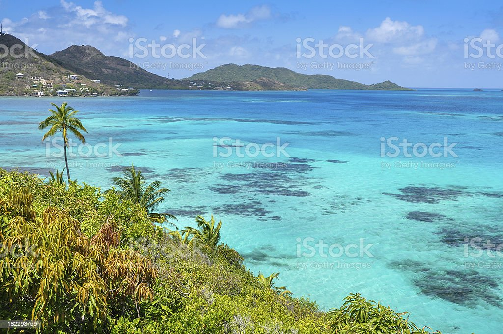 Caribbean sea view of Providencia island near San Andres. Colombia. stock photo