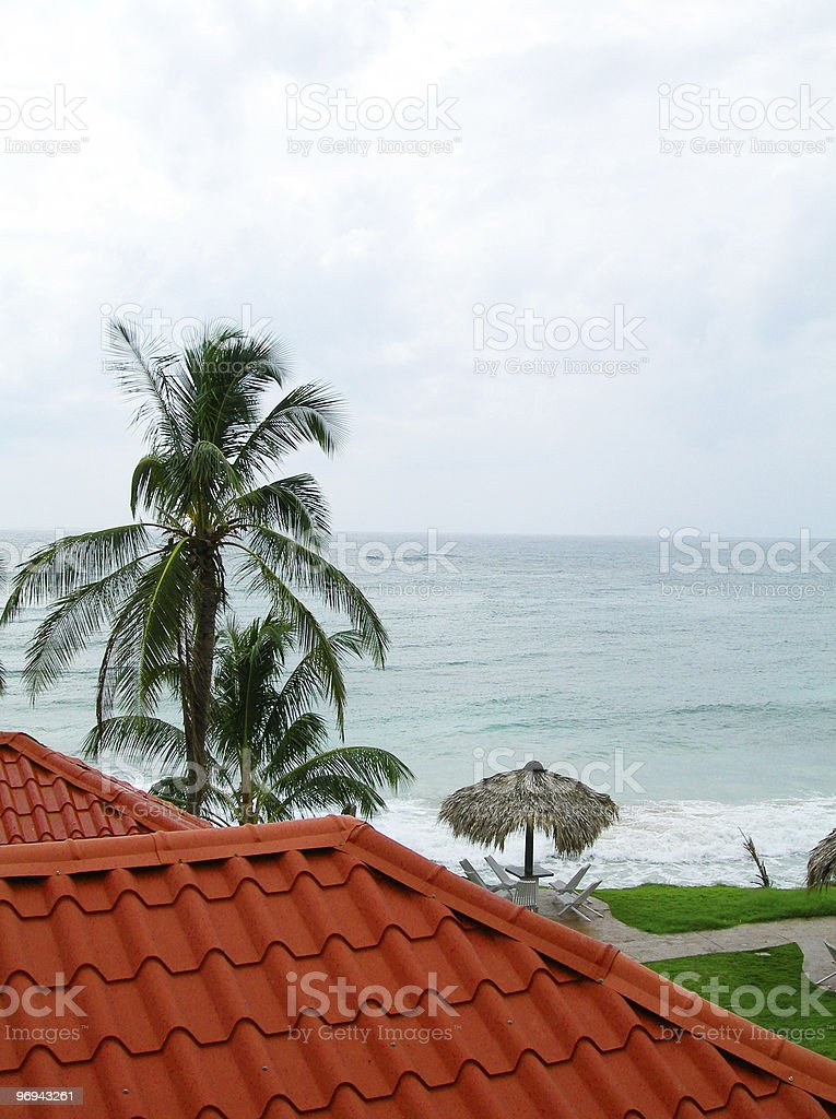 caribbean sea view over typical roof material corn island nicaragua royalty-free stock photo