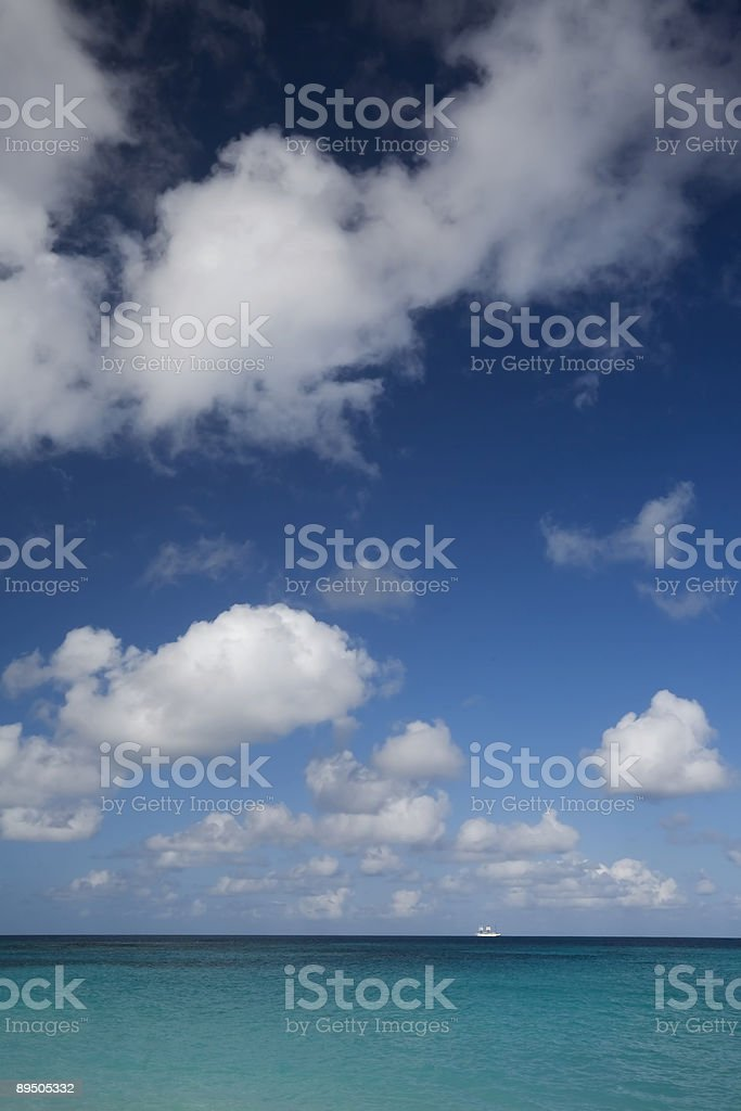 Caribbean Seascape with Cruise Ship royalty-free stock photo