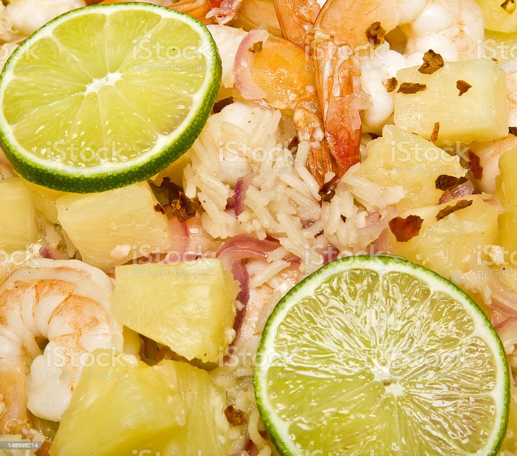 Caribbean Shrimp and Rice Dish royalty-free stock photo