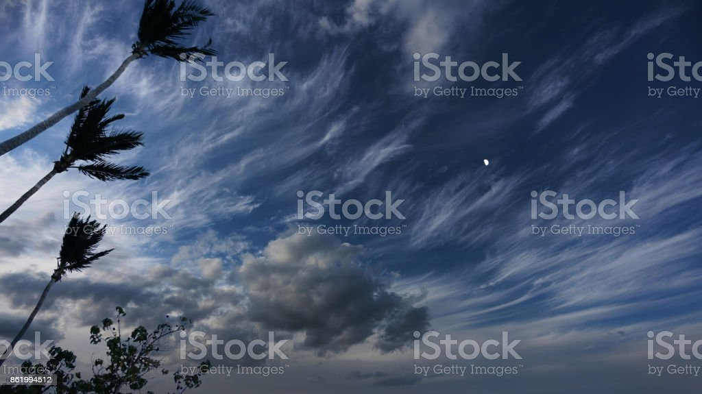 Caribbean sky before hurricne arrival stock photo