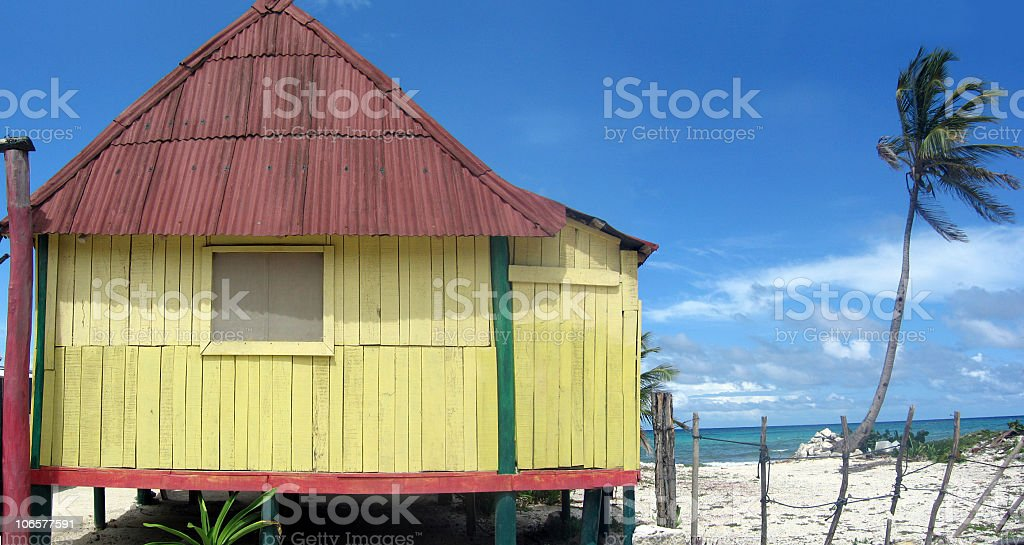 caribbean style house in mexico royalty-free stock photo