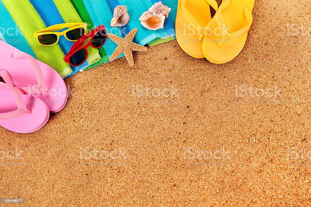 Caribbean summer beach background, sunglasses, couple sunbathing,...