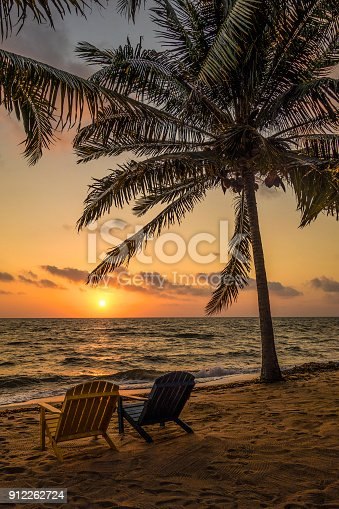 Sun rising over the Caribbean sea on the mainland coast of Belize.