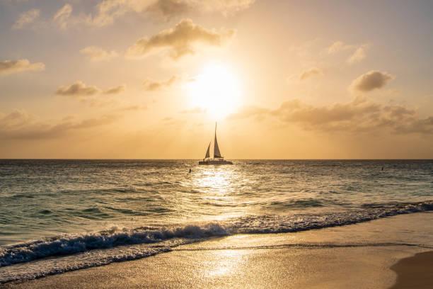 Caribbean sunset, Aruba stock photo