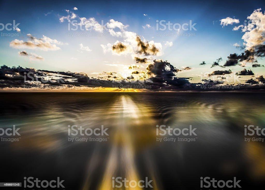 Caribbean Sunset on Cruise stock photo