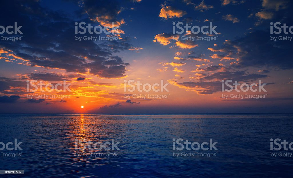 caribbean sunset stock photo