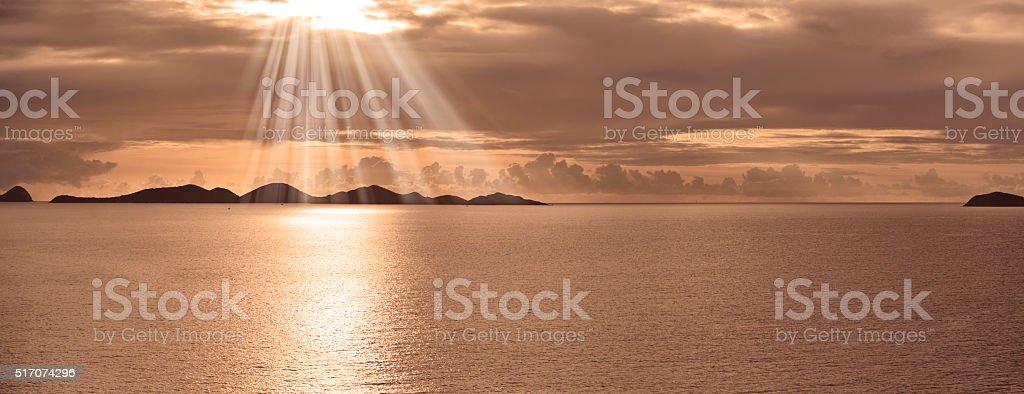 Caribbean Tortola Island Sunset British Virgin Islands stock photo
