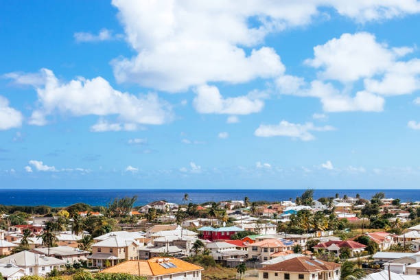 Caribbean town - Christ Church, Barbados stock photo