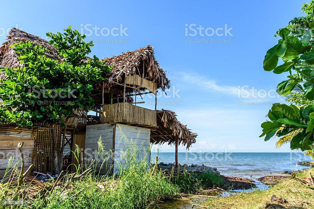 Caribbean tropical beachside bar stock photo